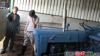 Twink farmer anally fucked on tractor