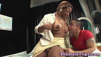 Black shemale cumshot