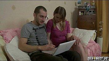 Watching porn flicks with her boyfriend