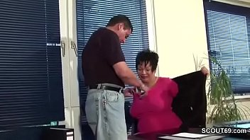 MILF Mother wit Big Tits in Lingerie fuck in Office Work