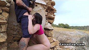 Amateur babe deep throats fake cops dick outdoor
