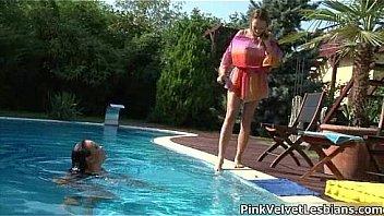 Gorgeous bikini babes making out sensual