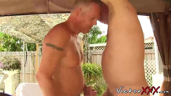 two daddyies enjoying in bareback sex action
