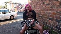 Redhead wheelchair bound babe Leah Caprice flashing and masturbating in public Thumbnail
