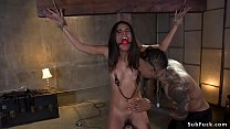 Gagged small tits ebony slave Vienna Black with clamped nipples in standing bondage gets electro shocked then alt black master anal fucks her Thumbnail