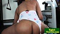 Watch Bigbooty black tgirl twerking and jerking preview