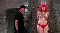 Big tits redhead hottie Proxy Paige in red knickers in standing rope bondage takes zapper Thumbnail