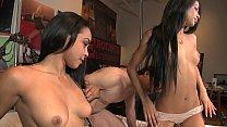 Two Latina teen share white dick Thumbnail