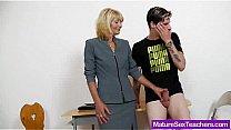 Old mature teacher teases young boy Thumbnail
