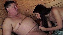Horny Grandpa Fucks skinny teen in hot sauna Thumbnail