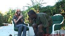 Big ass redhead MILF Joselyn Pink sucks big black cock then rides it and takes a facial Thumbnail