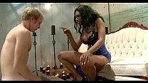 Black busty hot babe spanks white man's Thumb