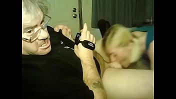 blonde sucks dick of old man