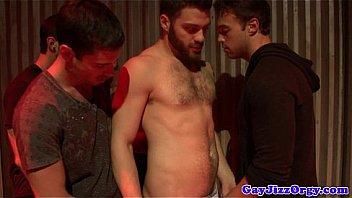 Gay bathroom orgy with well hung hunks