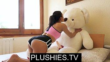 valentina loves yoga porno with stuffed plush teddy bear