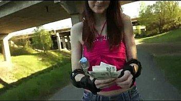 Katie in rollerskates slammed with pervert stranger for some money