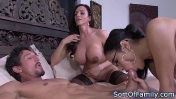 Busty cougar stepmom cockrides in taboo trio 5