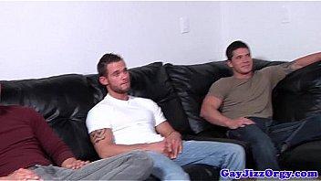 Gay orgy closeup with tattooed hunks and jock
