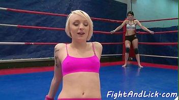 Lesbian wrestlers pussylicking passionately