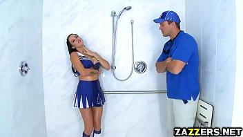 Cheerleader Leslie Sierra Catches Janitor Masturbating