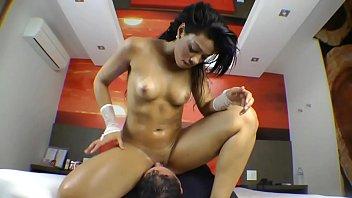 Slut mistress rides slaves face...