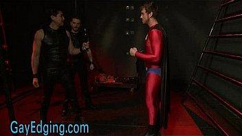Bound gay superhero cock jerked