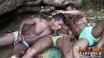 Latino threesome in paradise falls