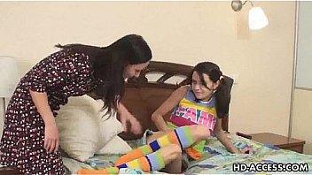 Cute teen lesbians dildo fun