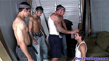 Gangster hunks giving blowbang to kinky jock