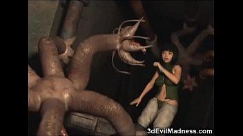 Alien monsters destroy girls