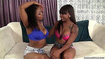 Cute ebony girls lez out!