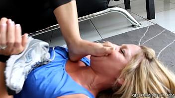 LYNETTE: Brandi Bondage in Belts and Foot Worship