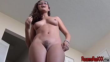 Nude girl in blue pantiehose