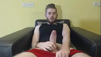 Milking his big fat uncut cock