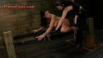 bondage slut banged by two bitches