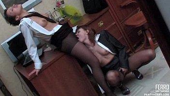 Lesbians secretaries in pantyhose
