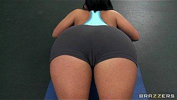 Horny big-boob slut gymnast Bella Reese fucks trainer's big-dick