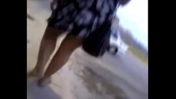 Melanie bend over upskirt in parking lot