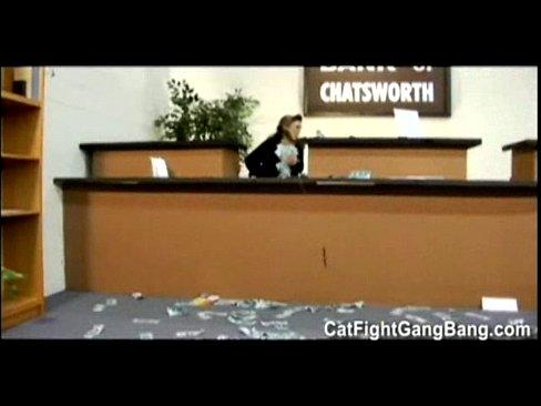 Lesbians gangbang bankteller