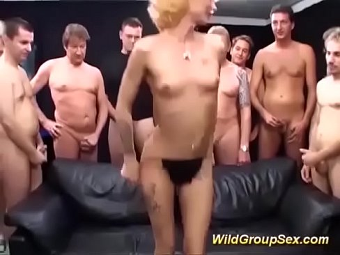 Skinny german milfs first gangbang orgy