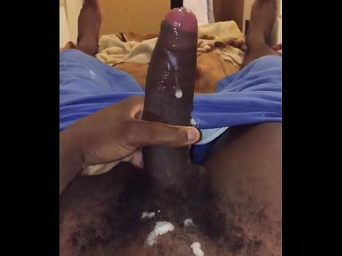 Horny black guy jerking