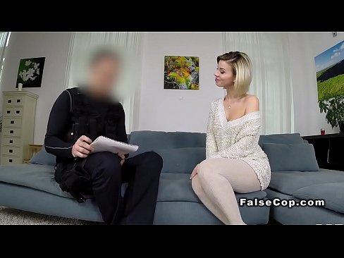 Tattooed brunette fucks fake cop indoor, hot sexy threesome