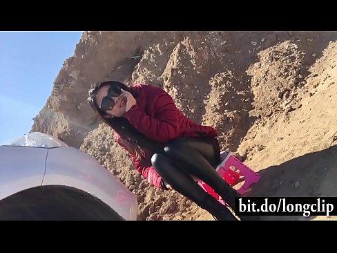 Chino Novia Follada Fuera del Coche en un viaje por Carretera
