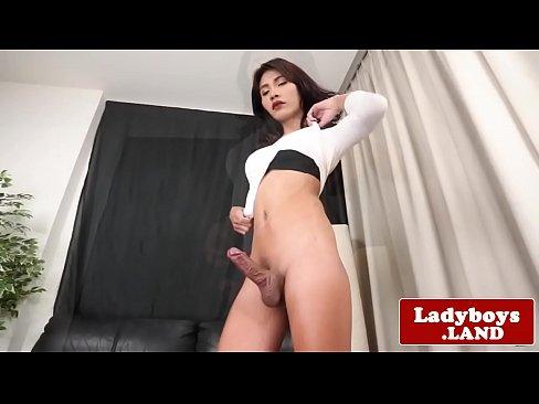 Real ladyboy tugging her big hard cock
