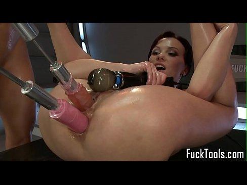 Woman using vibrator machines videos