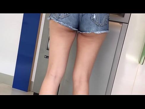 Asian candid short shorts