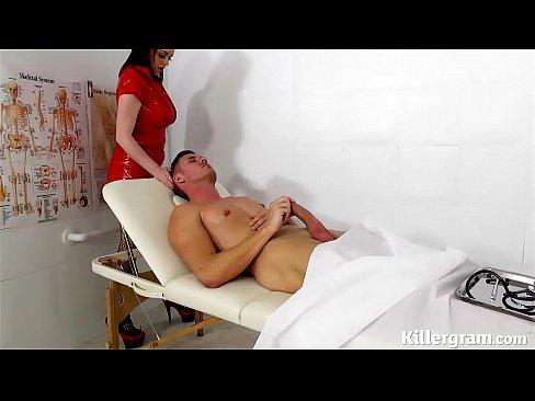 Big long dick trans cums in latex, sexy sex voyeur