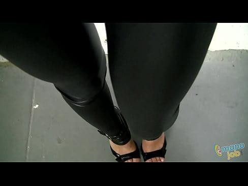 Horny Hot Girl In Black Spandex Shiny Tight Leggings