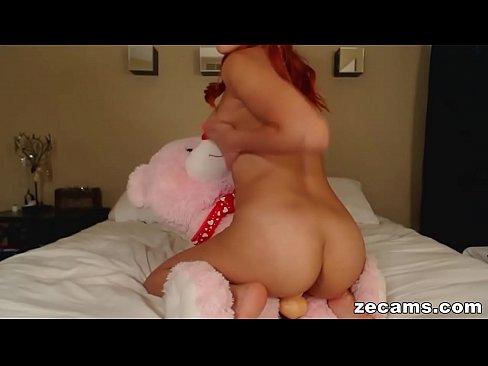 Horny girl fucking teddy bear — img 3