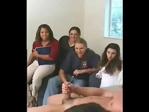 Four Women Watch Guy Jerk Off
